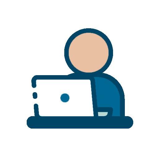 Icon mit einer Person vor dem Computer