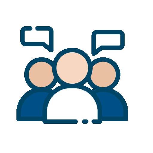 Icon mit mehreren Personen und Sprechblasen