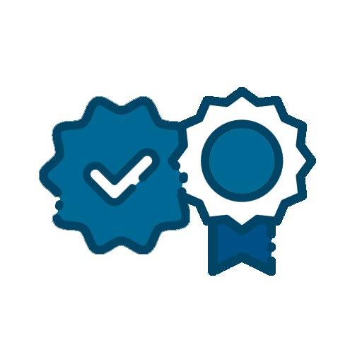 Icon mit zwei Qualitätssiegeln